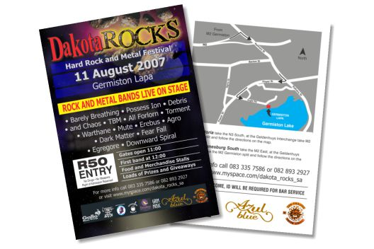 Front and back of the Dakota Rocks printed flyer
