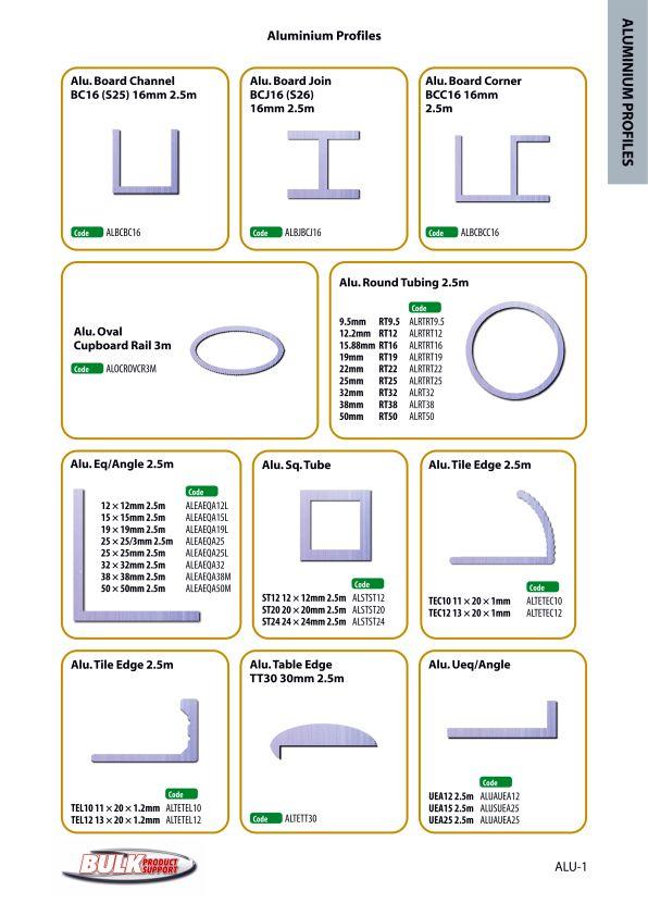 Bulk Product Support Aluminium Profiles page 1