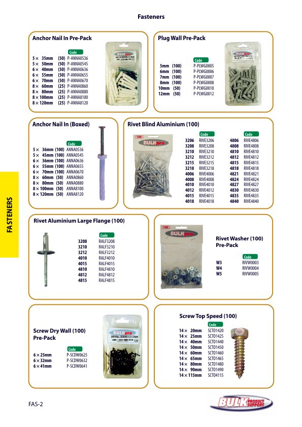 Bulk Product Support fasteners page 2