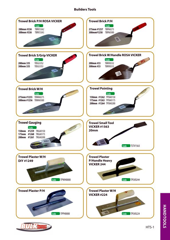 Bulk Product Support hand tools page 1