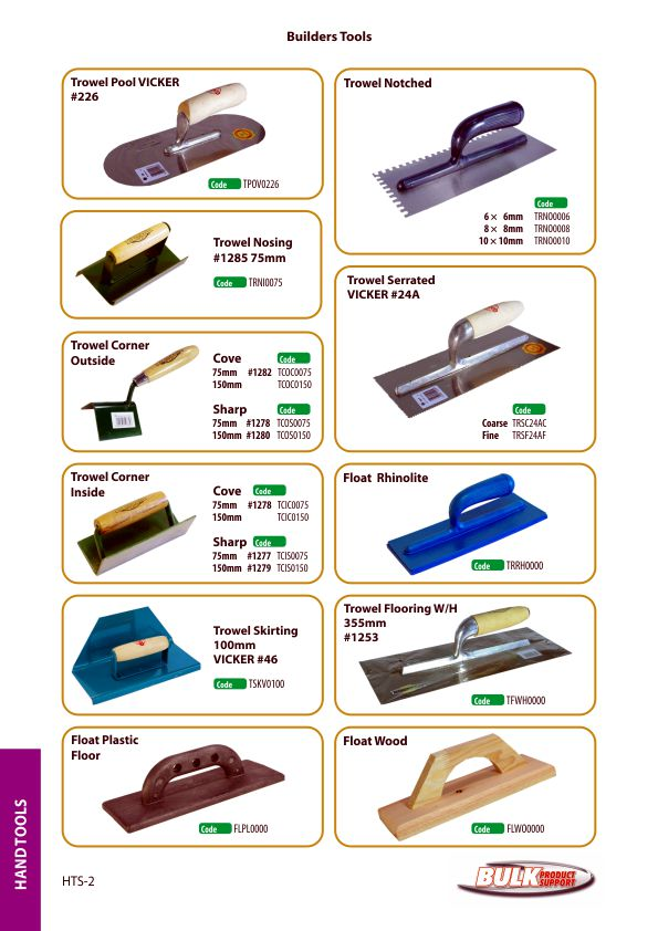Bulk Product Support hand tools page 2