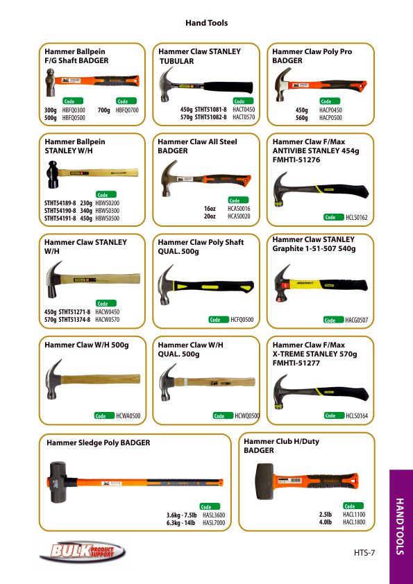 Bulk Product Support hand tools page 7