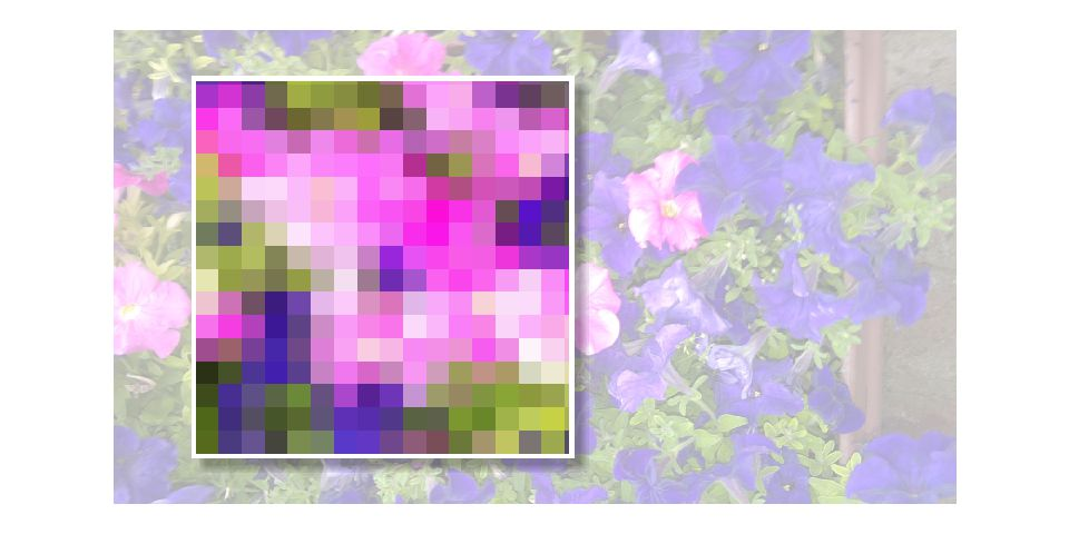 Sample of enlarged pixels.