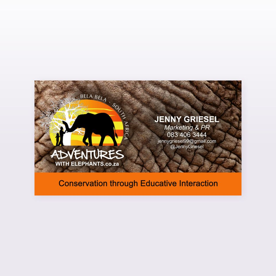 Adventures with Elephants business card