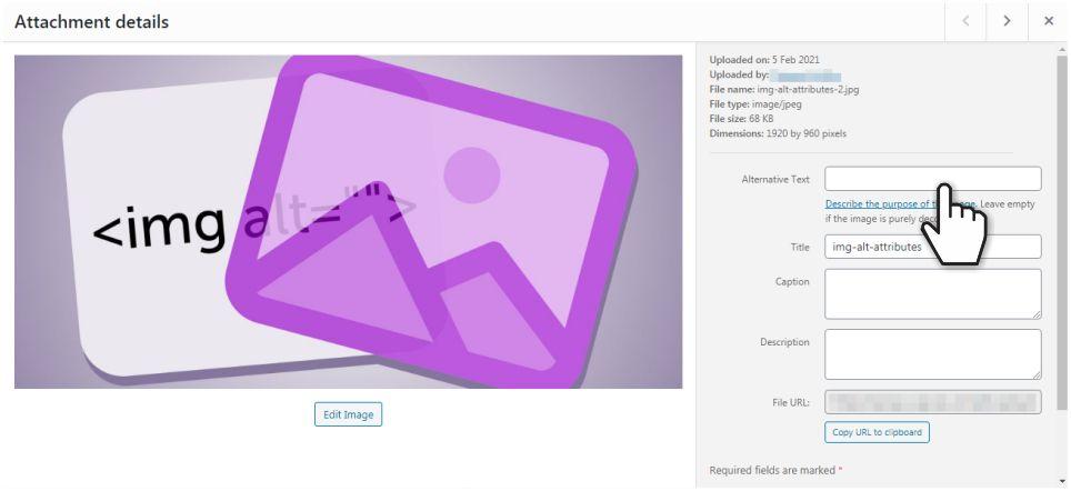 Wordpress attachment details dialogue box