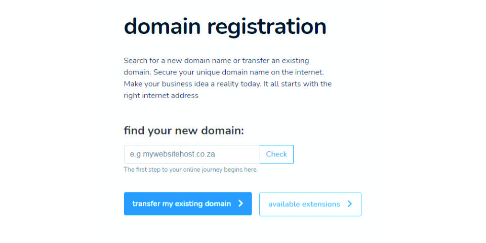 domain registration at Host Africa