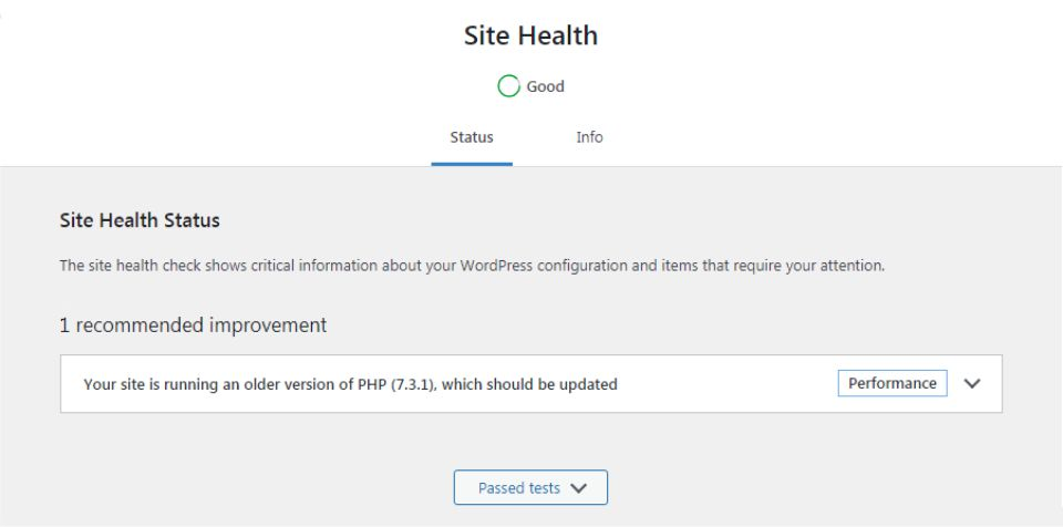 WordPress Site Health Status with 1 Recommended Improvement.