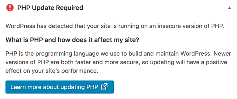 The PHP Update Required Error Message