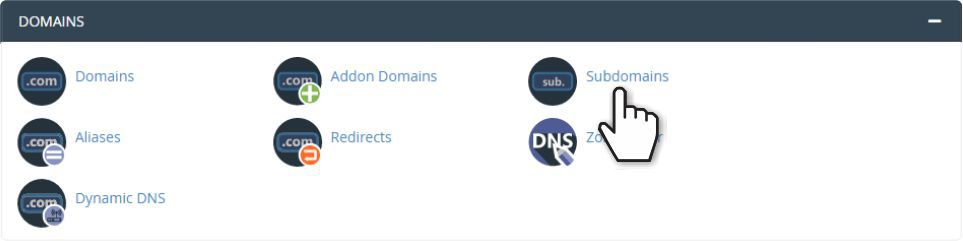 Domains section in cPanel