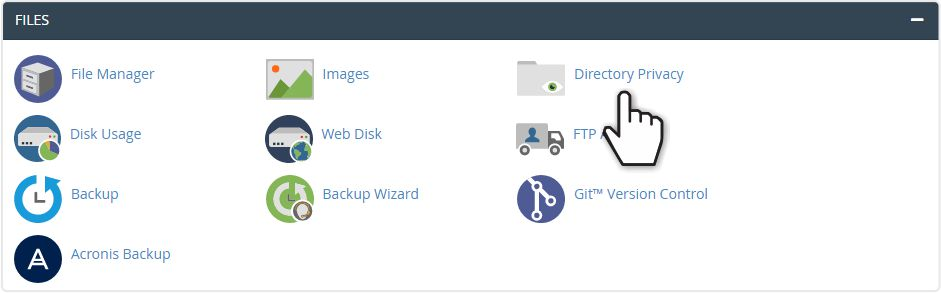 The Directory Privacy icon in cPanel