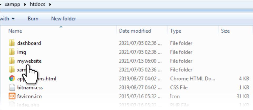 Create a new folder in htdocs