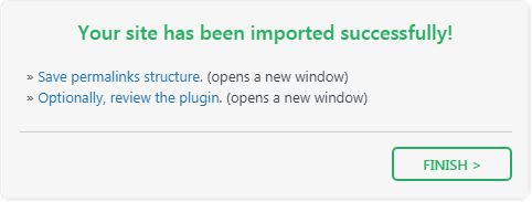 Import successful in All-in-One WP Migration