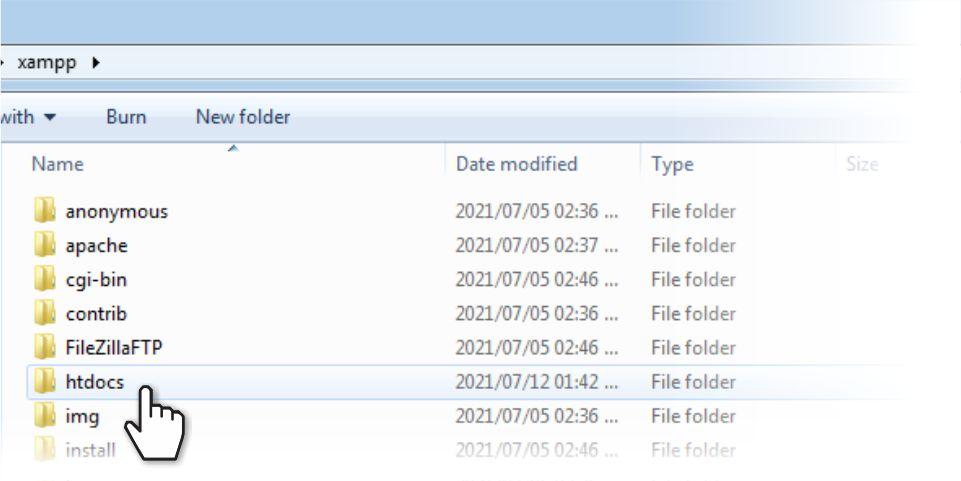 Navigate to the XAMPP folder