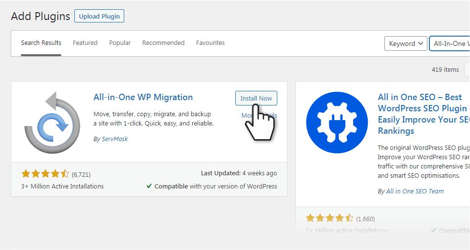 Install All-in-One WP Migration pluging in WordPress