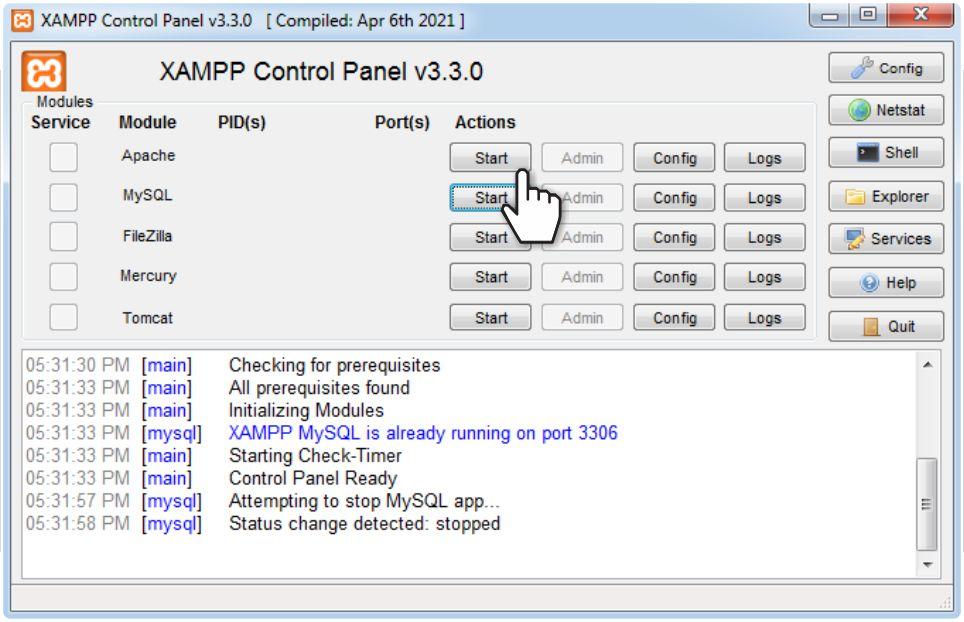 The XAMPP Control Panel