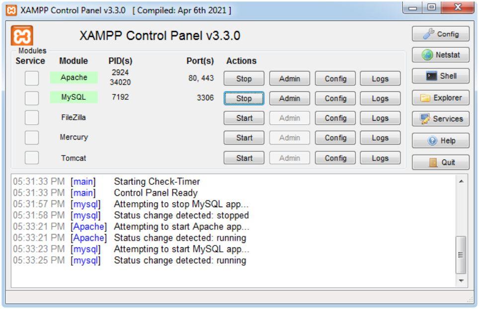 XAMPP modules started