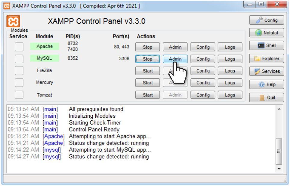 Start PHPMyAdmin in XAMPP dashboard